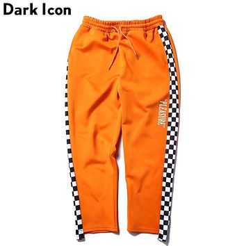 Side Plaid Patchwork Elastic Waist Drawstring Men's Pants New Fashion Street wear Hip Hop Pants Men Orange Black