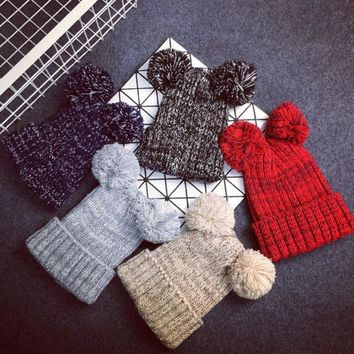 PEAPUNT New arrive female new arrive winter hat women two pom poms beanie lovely 5 color