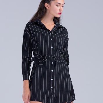 Black Stripe Tie Waist Long Sleeve Shirt Dress