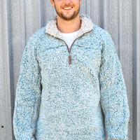 TRUE GRIT Frosty Tipped 1/4 Zip Pullover- Aqua