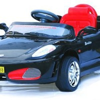 Radio Remote Controlled Electric Ride-On Ferrari F430-Style Sports Car for Kids Ages 3-5 w/ Lights & Sound Effect (Black)