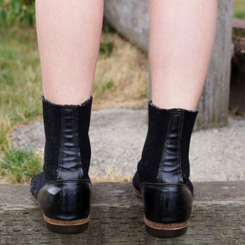 Steampunk Industrial Boots Black Felted Wool 1930's