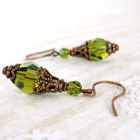 Olivine Swarovski Crystal Copper Earrrings - Antiqued Copper - Rustic Vintage Style Victorian Olive Green Tierracast Earrings Copper Jewelry