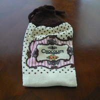 Chocolate Hanging Kitchen Towel With Hand Knit Topper and Ties