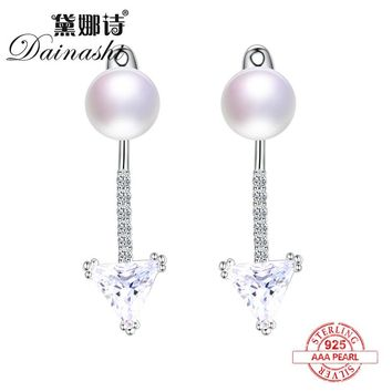 Dainashi Brand Jewelry Retro Style Exterior Anchor and Triangle 925 Sterling Silver Pearl Stud Earrings Aristocratic Temperament
