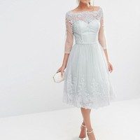 Chi Chi London | Chi Chi London Midi Tulle Dress In Premium Lace Embroidery at ASOS