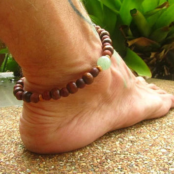 Jade & Wooden Beaded Anklet / Boho Unisex Beaded Ankle Bracelet / Hippie Surfer Ankle Bracelet / Mens Gemstone Beaded Anklet / Tribal Anklet