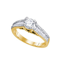 Diamond Bridal Ring with 0.60ct Center Round Stone in 14k Gold 1.27 ctw