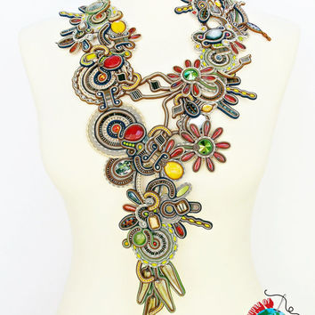 Soutache necklace. Statement soutache jewelry. Soutache handmade necklace. Soutache handmade jewelry.