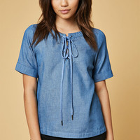 Lucca Couture Lace-Up Denim T-Shirt at PacSun.com