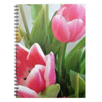 Pink Tulips, Floral Spring Bouquet, Flowers Notebook