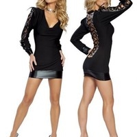 Black Lace Up Back & Sleeve Detail Slinky Mini Dress