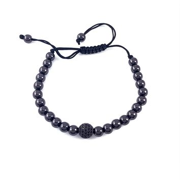 Black Bead Macramé Bracelet with black pave zircon encrusted ball