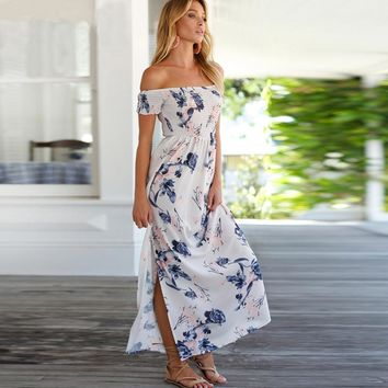 Kathryn - Pale Pink Floral Maxi Dress