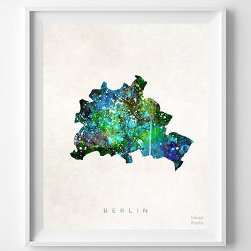 Berlin Map, Germany, Print, Watercolor, German, Europe, Home Town, Poster, Country, Nursery, Wall Decor, Painting, Bedroom, World