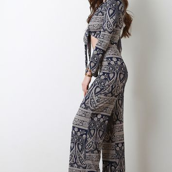 Paisley Self-Tie Crop Top and Palazzo Pants Set