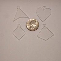Sampler set of four small clear acrylic blanks jewelry necklaces decoration