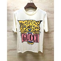 GUCCI 2019 new tiger head letter print loose casual round neck half sleeve T-shirt