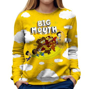 Big Mouth Flying Banana Womens Sweatshirt