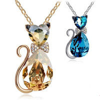 MIX Min Order 15 USD 2013 18K Gold Plated Rhinestone Crystal Cute Lovely Cat Necklaces & Pendants Fashion Jewelry for women 4575