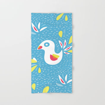 Abstract Bird In Spring Hand & Bath Towel by borianagiormova