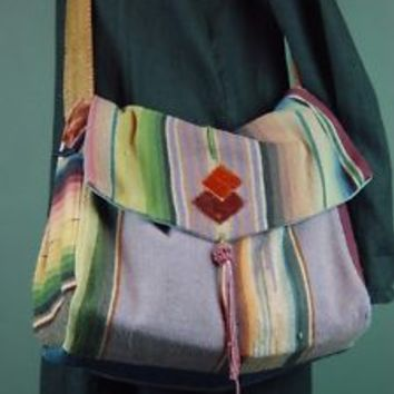 RARE Karen Wilkinson Mexican Serape Saltillo Large Handbag Purse Shoulder Bag