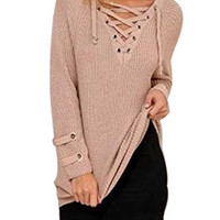 Khaki Lace Up Front V Neck Long Sleeve Knit Ribbed Loose Sweater Dress Top