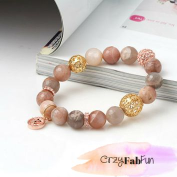Micro Cut Cubic Ball Mix Elastic Bracelet