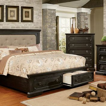 5 pc Roisin collection wire brushed black finish wood queen panel padded and tufted bedroom set