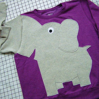 Elephant Trunk sleeve sweatshirt sweater jumper LADiES S GRAPE