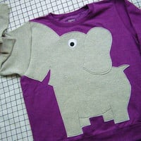 Elephant shirt Trunk sleeve sweatshirt sweater jumper LADiES XL purple CLEARANCE
