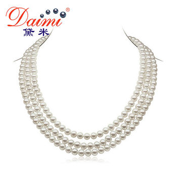 DAIMI 6-7mm Natural Pearl  Necklace 3 Strands Round  White Freshwater Pearl Necklaces Chunky Necklace