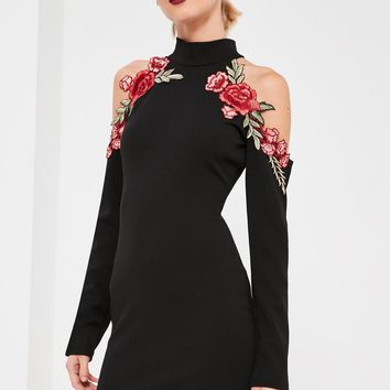Missguided - Black Embroidered Cold Shoulder Dress