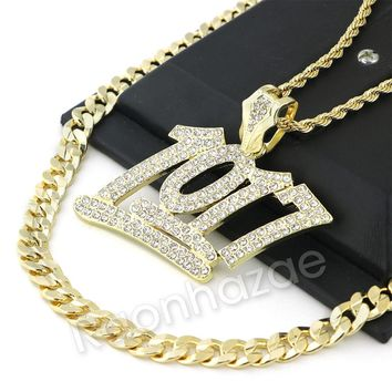 BIG NUMBER 1017 CHARM ROPE CHAIN DIAMOND CUT CUBAN CHAIN NECKLACE G61
