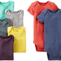 Carter's Baby Boys' 7 Pack Bodysuits (Baby) - Assorted Solids - Assorted Stripes