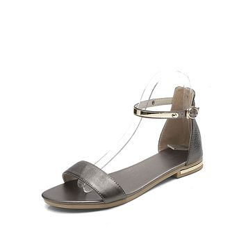 Genuine Leather Ankle Strap Flat Sandals for Women 5619