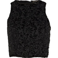 River Island Womens Black devore embellished high neck crop top