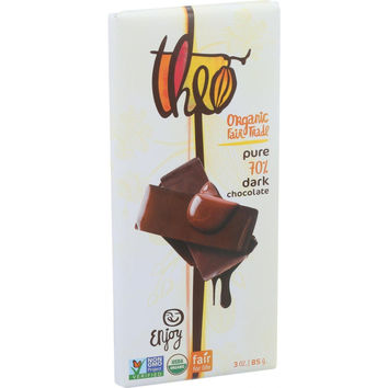 Theo Chocolate Organic Chocolate Bar - Classic - Dark Chocolate - 70 Percent Cacao - Pure - 3 Oz Bars - Case Of 12