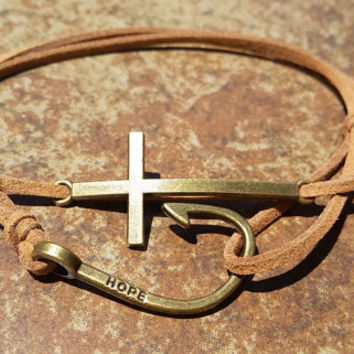 Brown Leather Bronze Fishing Hook Cross Bracelet Anklet Charm Men Women Unisex Fashion New Love Cute Diy Friendship