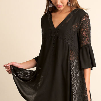Umgee Black Bell Sleeved Tunic with Lace & Crochet Details
