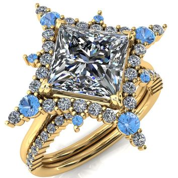 Thalim Princess/Square Moissanite 4-Point Star Aqua Blue Spinel and Diamond Halo Ring