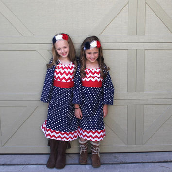 Girls Christmas Dress in Red White and Blue!