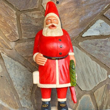 "Vintage Santa Claus Figurine,  Large 25""tall Santa Figurine, Floor standing Wood Carving, Christmas, Gift"