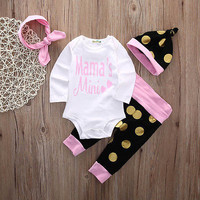 4pcs Set Newborn Baby Girl Clothes Mama's Mini Princess Long Sleeve Cotton Romper Bodysuit Dot Pant Headwear Hat Bebes Clothing