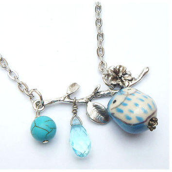 Leaf  Turquoise Quartz Porcelain Owl  Necklace by gemandmetal