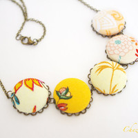Fabric Covered Button Necklace Yellow Romantic Rustic Farmhouse fabric spring