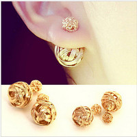 Hot Selling Two Gold Ball Stud Earrings Double Sides Pearl Earring For Girls Gold Plated Jewelry