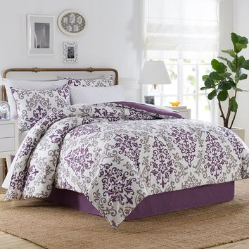 Carina 6-8 Piece Comforter Set in Purple