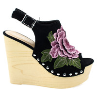Woobery17 Black By Bamboo, Large Floral Patch On Wooden Platform Wedge Sandal, Metal Bolted Detail.