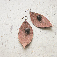 FREE WORLDWIDE SHIPPING - Copper Leaves Clay Earrings